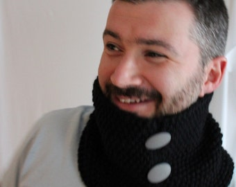 Black Snood and Gloves - Black Snood - Knitted Black Scarf - Mens Scarf - Ready to ship