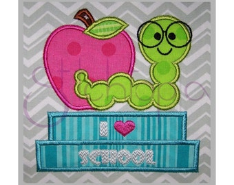 Bookworm with Apple Applique - 6 sizes - Digital Machine Embroidery Design - Back to School - 10 Formats PES DST