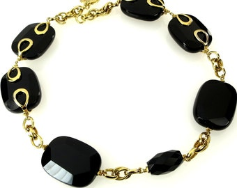Vintage Chunky Black Glass Necklace Huge Faceted Beads with Gold Tone Accents