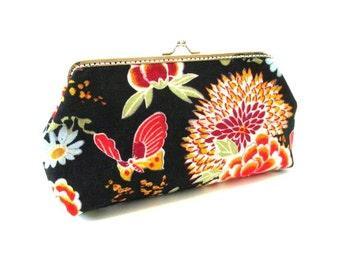Frame clutch, orange flower on black makeup bag, frame clasp pouch, flower snap frame purse, silver purse frame