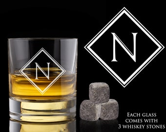 Groomsmen Gift, 3 Personalized Whiskey Glasses, Custom Whiskey Rocks, Whiskey Stones, Wedding Gift, Engagement Gift, Engraved Whiskey Glass