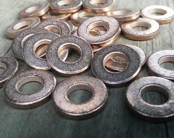 40pc, Bronze Washer Beads, Antique Washer Beads, Antiqued Pure Bronze Metal, Jewelry Washers, Metal Washer Blanks