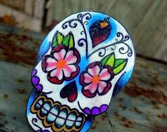 sugar skull with sacred heart and flowers tattoo ring (dia de los muertos calavera)