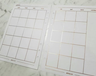A5 (GM) Large Rose Gold foil Monthly (MO2P) planner inserts paper | Planner refills for Kikki k, Filofax, Louis Vuitton GM agenda
