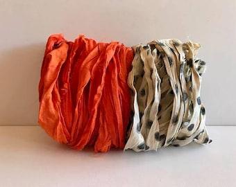 Silk Sari Ribbon-Orange & Polka Dot Sari Ribbon-10 Yards