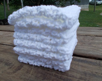 Crochet Dishcloth, 4 Cotton Wash Cloths, White Wash Cloths, Crocheted Dish Cloth, Crochet WashCloth, EcoFriendly Wash Cloth, EX LARGE, White