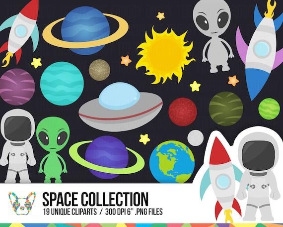 Space Clipart Set Astronaut Clipart Alien Clipart Rocket