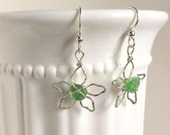 Dangle sea glass earrings - flower earrings - sea glass jewelry - ocean glass earrings - boho earrings  - Seaglass earrings - gift for he