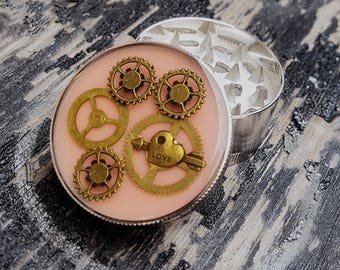 Steampunk Herb Grinder -  Pink LoVe -Glow In Dark Spice Crusher - Metal herbs and weed grinders - Amazing gift for 4:20 girls and boys