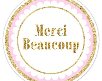 Gold and Pink Merci Beaucoup Stickers, Gold Glitter Merci Beaucoup Labels