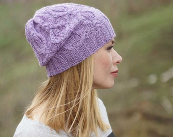 Hand knitted autumn winter hat - lilac women hat urban wool hat MADE TO ORDER