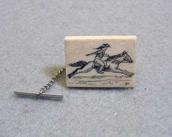 Vintage Resin Scrimshaw Paul Revere's Ride Tie Tack
