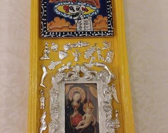 Mother & Child, Madonna and Child, Catrina, Ofrenda, Nicho, Mexican Folk Art, Shrine, Virgin
