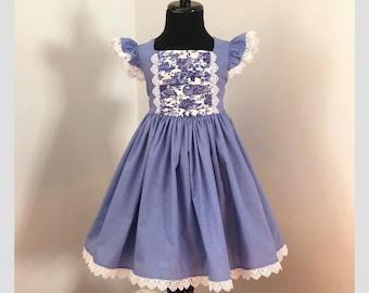 Blue Twirl Ruffle Sleeve Easter Dress Toddler Girl Girls Size 4T