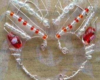 ORANGE BLOSSOM  FAIRY ears  beaded  ear cuff hand made item # 10