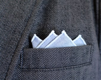 Men's Pocket Square in Gray Oxford Cotton - handkerchief wedding groomsmen suit black