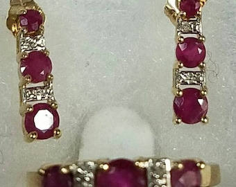 10kt yellow gold ruby and diamond earrings and ring matching set.