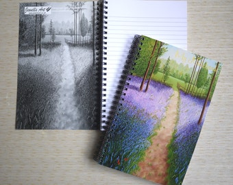 Bluebells With Butterflies Painting Spiral Bound Notebook, From my Original Artwork, Limited Addition, Writing Paper, Books, Film & Music