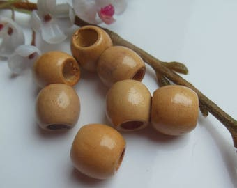 set of 7 barrel wood beads painted