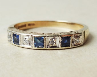 Art Deco Design Sapphire & Diamond Eternity Ring, Vintage 9k Gold Ring, Approximate Size US 8