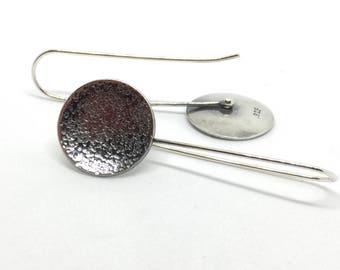 Long Argentium Silver Disc Earrings, Textured, Oxidized Disc Earrings Silver Circle Earrings, Long Silver Dangle Earrings