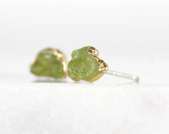 august birthstone studs | raw crystal earrings | green peridot studs | raw peridot earrings | natural peridot earrings | green stone studs