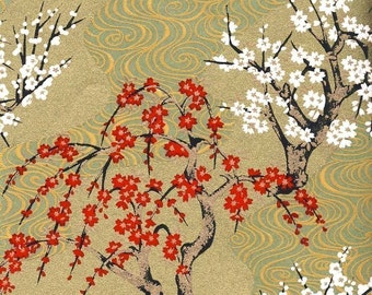 Chiyogami or yuzen paper - swirly, gold plum trees, 9x12 inches