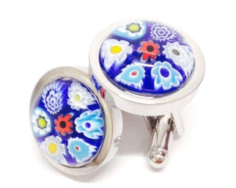 Blue Murano Glass Floral Cufflinks. Chunky Silver Plated Cufflinks Inlaid with Unique Hand-Made Glass Millefiori Flowers