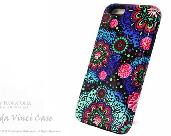 Artistic Floral iPhone 6 6s Case - Paisley iPhone 6 case - Frilly Floratopia - Dual Layer Protective iPhone 6s Case by Da Vinci Case