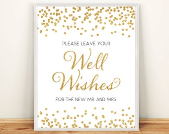 Printable Wedding Well Wishes sign 8x10 Gold Glitter Well Wishes for the new mr and mrs DIY Wedding Printable Digital Instant Download HQ