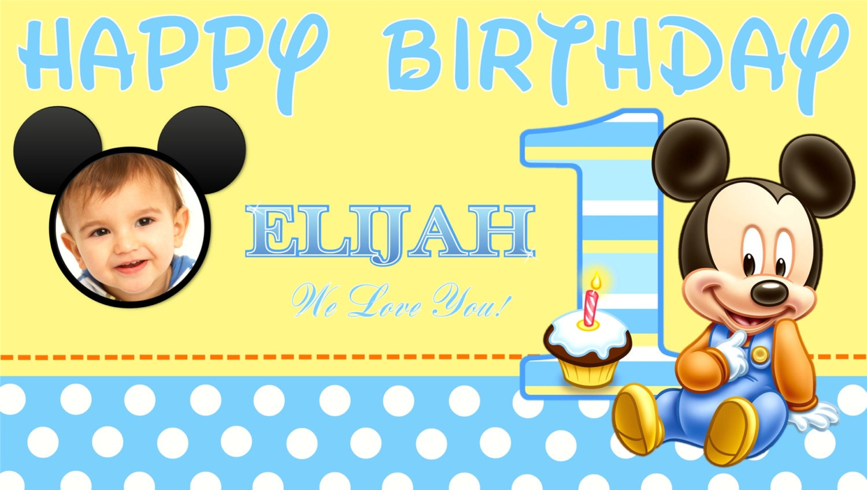 Baby Mickey Mouse Happy Birthday Banner Birthday Banner
