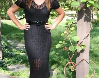 Women's Vintage Crochet Dress in Bewitching Black, LBD