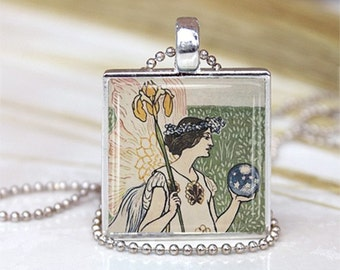 Garden Fairy METAL Framed Glass Tile Necklace INCLUDES Chain