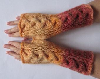 Fingerless Gloves Red Yellow Orange Brown wrist warmers