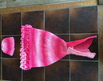 Crochet newborn mermaid tail