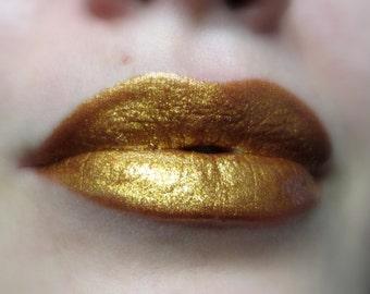 Cleopatra's Pride - Dark Gold With Bronze / Copper Tone Shimmer Lip Gloss - Vegan - Gluten Free - Fresh - Handmade Cruelty Free