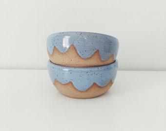 Set of two Periwinkle Ceramic Cloud Bowls, white ceramic bowls, speckled white cereal bowl with wax resist cloud design, pottery bowl set