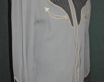 Vintage Western Shirt by H Bar C  California Ranchwear Striped Yoke M 40s 50s Rockabilly Singing Cowboy Old Hollywood Free Domestic Shipping