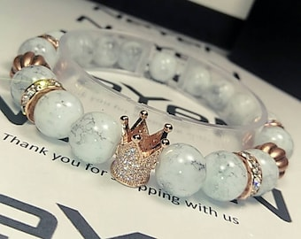Royalty Wrist Piece/Bracelet in White Marble and Rose Gold Hardware