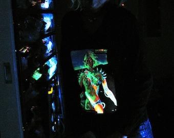 Biomechanoid UV Black Light Fluorescent & Glow In The Dark Phosphorescent Psychedelic Psy Goa Trance Art Club Womens Hoodie