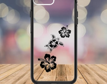 Hibiscus Flower, Sea Turtle Decal, Sea Turtle Sticker, Hibiscus Decal, Turtle Phone Cover,  Custom Phone Case, Turtle and Flower Decal