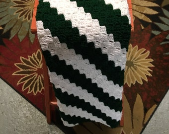 no. 45 Crocheted lap afghan in hunter green and white