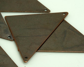 15 pcs 45 x 35 mm antique copper tone triangle tag 2 hole connector charms ,findings 742AC-U-38