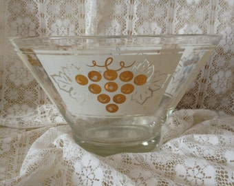 Retro Punch Bowl Gold Grapes Mad Men Mid Century Bowl