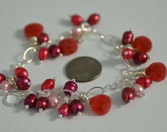 Ruby Jade Heart Bracelet with Blush, Scarlet, Wine and Fruit Punch Freshwater Pearls with all Sterling Silver Metals . Handmade in Maine