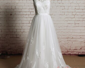 High Quality Lace Bridal Gown Bateau Neck Wedding dress A-line Style Bridal Gown Sheer Lace Back Wedding Dress with Waistband