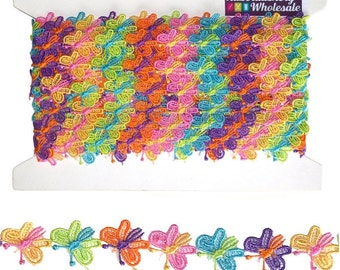Butterfly Multi Colour Rainbow Lace Trim 1mtr - 15yds