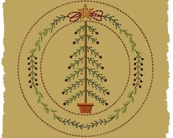 My Christmas Tree Candle Mat--6 Inch-INSTANT DOWNLOAD- Machine Embroidery Design