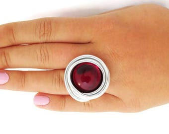 Silver Ring Red Stone, Big Red Ring, Glass Ring, Adjustable Ring, Red Fashion Ring, Red Stone Ring, Adjustable Ring, Wrapped Stone Ring, Red