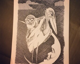 Original pen and ink 9x11 crosshatch drawing: 'Unsaid' (monkey, marabou stork, moon)